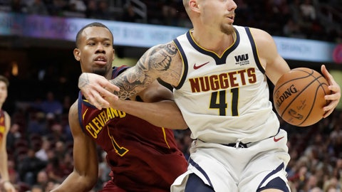 <p>               Denver Nuggets' Juan Hernangomez (41) drives around Cleveland Cavaliers' Rodney Hood (1) during the second half of an NBA basketball game Thursday, Nov. 1, 2018, in Cleveland. The Nuggets won 110-91.(AP Photo/Tony Dejak)             </p>