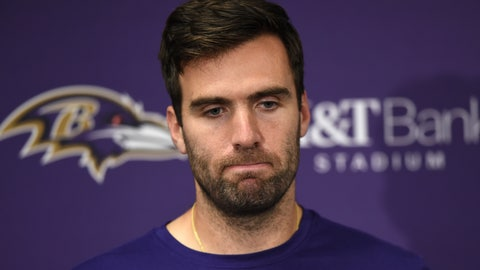 <p>               In this Nov. 4, 2018 photo Baltimore Ravens quarterback Joe Flacco speaks at a news conference after an NFL football game against the Pittsburgh Steelers in Baltimore. Flacco is nursing a hip injury that could threaten his availability for Sunday's game against Cincinnati. With the Ravens coming off a bye, Flacco received an additional week of rest and treatment after sustaining the injury on Nov. 4 in the opening minutes of a 23-16 loss to Pittsburgh. (AP Photo/Gail Burton)             </p>