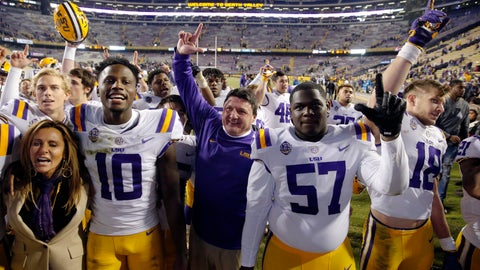 <p>               LSU coach Ed Orgeron sings the school alma mater with his team after an NCAA college football game against Rice in Baton Rouge, La., Saturday, Nov. 17, 2018. LSU won 42-10. (AP Photo/Gerald Herbert)             </p>