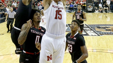 <p>               Nebraska's Isaiah Roby (15) dunks the ball during the first half of an NCAA college basketball game against Texas Tech Tuesday, Nov. 20, 2018, in Kansas City, Mo. (AP Photo/Charlie Riedel)             </p>