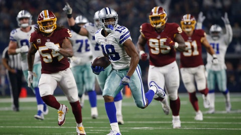<p>               Dallas Cowboys wide receiver Amari Cooper (19) runs in for a touchdown against the Washington Redskins during the second half of an NFL football game in Arlington, Texas, Thursday, Nov. 22, 2018. (AP Photo/Ron Jenkins)             </p>