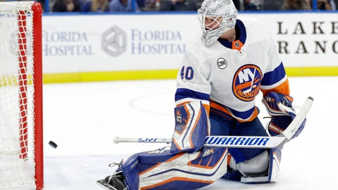 <p>               New York Islanders goaltender Robin Lehner (40) can only watch as a shot by Tampa Bay Lightning right wing Mathieu Joseph goes into the net for a goal during the second period of an NHL hockey game Thursday, Nov. 8, 2018, in Tampa, Fla. (AP Photo/Chris O'Meara)             </p>