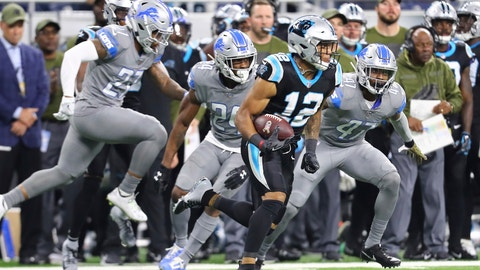<p>               Carolina Panthers wide receiver DJ Moore (12) breaks downfield after a catch during the second half of an NFL football game, against the Detroit Lions, Sunday, Nov. 18, 2018, in Detroit. (AP Photo/Rey Del Rio)             </p>
