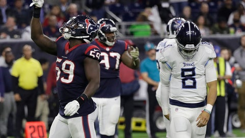 <p>               Houston Texans outside linebacker Whitney Mercilus (59) celebrates after he sacked Tennessee Titans quarterback Marcus Mariota (8) during the second half of an NFL football game, Monday, Nov. 26, 2018, in Houston. (AP Photo/David J. Phillip)             </p>