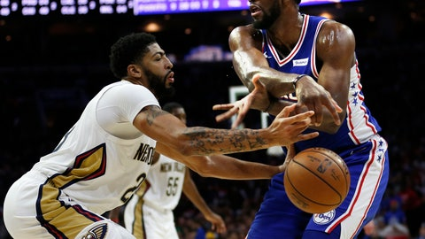 <p>               New Orleans Pelicans forward Anthony Davis (23) knocks the ball away from Philadelphia 76ers center Joel Embiid (21) during the second half on an NBA basketball game, Wednesday, Nov. 21, 2018, in Philadelphia. The 76ers won 121-120. (AP Photo/Laurence Kesterson)             </p>