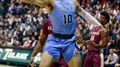 <p>               Tulane's guard Caleb Daniels, 10, fights for the ball during the first half of an NCAA Men's college basketball game against Florida State in New Orleans on Sunday, Nov. 11, 2018. (AP Photo/Veronica Dominach)             </p>