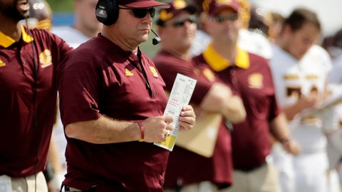 <p>               FILE - In this Saturday, Sept. 9, 2017 file photo, Central Michigan head coach John Bonamego watches during the first half of an NCAA college football game against Kansas in Lawrence, Kan.  John Bonamego is out as Central Michigan's football coach after the Chippewas finished 1-11 this season. The school announced Friday night, Nov. 23, 2018 that Bonamego will not return, hours after CMU lost its season finale to 51-13 to Toledo. (AP Photo/Charlie Riedel, File)             </p>