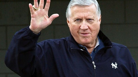 <p>               FILE - In this Feb. 17, 2004, file photo, New York Yankees owner George Steinbrenner waves to fans in Tampa, Fla. Steinbrenner, former managers Lou Piniella, Davey Johnson and Charlie Manuel, and six players headed by Lee Smith are on the 10-man ballot for the baseball Hall of Fame's today's game era committee to consider Dec. 9, 2018. (AP Photo/Chris O'Meara, File)             </p>