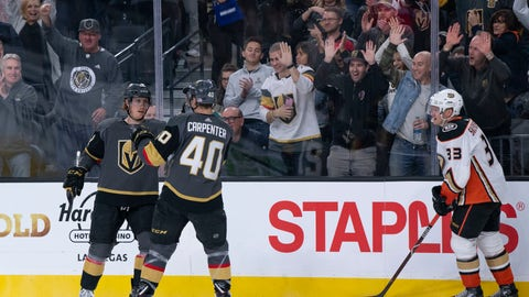 <p>               Vegas Golden Knights center Cody Eakin (21) celebrates his goal with teammate Ryan Carpenter (40) during the second period of an NHL hockey game against the Anaheim Ducks on Wednesday, Nov. 14, 2018, in Las Vegas. (AP Photo/Eric Jamison)             </p>