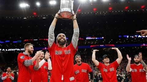 <p>               Boston Red Sox's David Price holds up the baseball World Series trophy with teammates during the first half of an NBA basketball game between the Boston Celtics and the Milwaukee Bucks in Boston, Thursday, Nov. 1, 2018. (AP Photo/Michael Dwyer)             </p>