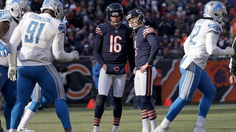 <p>               Chicago Bears kicker Cody Parkey (1) reacts as he talks to holder Pat O'Donnell (16) after missing a field goal during the second half of an NFL football game against the Detroit Lions Sunday, Nov. 11, 2018, in Chicago. (AP Photo/David Banks)             </p>