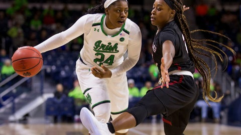 <p>               Notre Dame's Arike Ogunbowale (24) looks to pass around Harvard's Sydney Skinner during the first half of an NCAA college basketball game Friday, Nov. 9, 2018, in South Bend, Ind. (AP Photo/Robert Franklin)             </p>