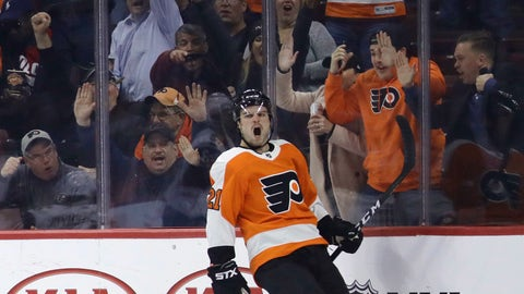 <p>               Philadelphia Flyers' Scott Laughton celebrates after scoring a goal during the third period of an NHL hockey game against the Arizona Coyotes, Thursday, Nov. 8, 2018, in Philadelphia. Philadelphia won 5-4 in overtime. (AP Photo/Matt Slocum)             </p>