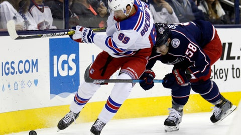 <p>               New York Rangers forward Pavel Buchnevich, left, of Russia, works against Columbus Blue Jackets defenseman David Savard during the first period of an NHL hockey game in Columbus, Ohio, Saturday, Nov. 10, 2018. (AP Photo/Paul Vernon)             </p>