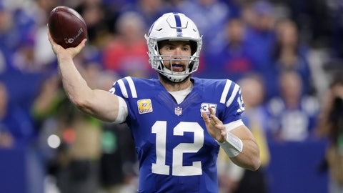 <p>               FILE - In this Sunday, Oct. 21, 2018 file photo, Indianapolis Colts quarterback Andrew Luck (12) throws against the Buffalo Bills during the first half of an NFL football game in Indianapolis. The Indianapolis Colts spent their offseason cramming for Sunday's test. They understood that to ascend in the AFC South, they needed a bigger, stronger offensive line, better coaching and different study habits. So far, they've aced it. Now they face their biggest challenged: Jacksonville's daunting defense. (AP Photo/Michael Conroy, File)             </p>