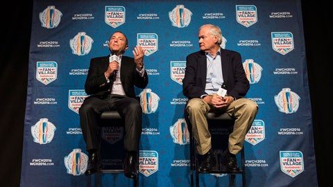 <p>               FILE - In this Aug. 17, 2016, file photo, NHL Commissioner Gary Bettman, left, and Donald Fehr, executive director of the NHLPA, speak during a news conference in Toronto about the World Cup of Hockey. Houston, Quebec City and Toronto have all been touted as possible new homes for an NHL team. Communications company Quebecor applied for an expansion team for Quebec City at the same time as Las Vegas. Billionaire businessman and new Houston Rockets owner Tilman Fertitta has already met with Bettman. (Aaron Vincent Elkaim/The Canadian press via AP, File)             </p>