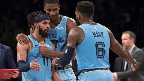 <p>               Memphis Grizzlies guard Mike Conley (11), guard Shelvin Mack (6) and forward Jaren Jackson Jr. react during overtime of the team's NBA basketball game against the Brooklyn Nets, Friday, Nov. 30, 2018, in New York. The Grizzlies won 131-125. (AP Photo/Mary Altaffer)             </p>