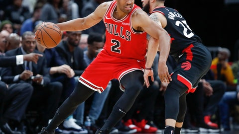 <p>               Chicago Bulls forward Jabari Parker, left, is defended by Toronto Raptors guard Fred VanVleet, right, during the first half of an NBA basketball game, Saturday, Nov. 17, 2018, in Chicago. (AP Photo/Kamil Krzaczynski)             </p>