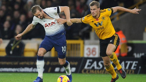 <p>               Tottenham's Harry Kane, left, duels for the ball with Wolverhampton's Ryan Bennett during the English Premier League soccer match between Wolverhampton Wanderers and Tottenham Hotspur at the Molineux Stadium in Wolverhampton, England, Saturday, Nov. 3, 2018. (AP Photo/Rui Vieira)             </p>