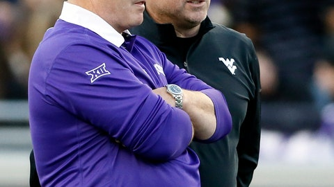 <p>               FILE - In this Oct 29, 2015 file photo, TCU head coach Gary Patterson, left, and West Virginia head coach Dana Holgorsen, right, talk on the field before an NCAA college football game in Fort Worth, Texas. Patterson and West Virginia coach Dana Holgorsen have a mutual respect for each other. Their teams joined the Big 12 together in 2012. Holgorsen always pays compliments to TCU's defense when the teams meet and, injuries aside, Saturday will be no different when TCU (4-5, 2-4 Big 12) plays the Mountaineers (7-1, 5-1, No. 9 CFP). West Virginia plays TCU on Saturday, Nov. 10, 2018. (AP Photo/Tony Gutierrez, File)             </p>