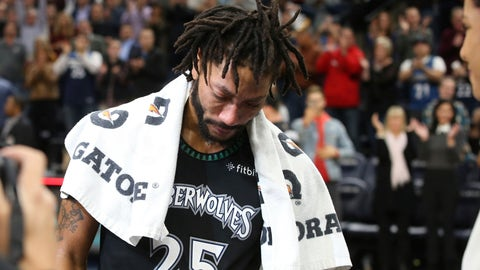 <p>               Minnesota Timberwolves' Derrick Rose composes himself before a television interview after he scored 50 points, a career high, against the Utah Jazz in an NBA basketball game Wednesday, Oct. 31, 2018, in Minneapolis. The Timberwolves won 128-125. (AP Photo/Jim Mone)             </p>