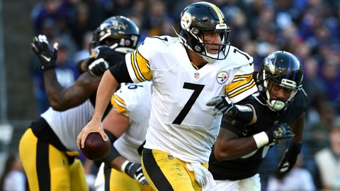 <p>               Pittsburgh Steelers quarterback Ben Roethlisberger looks for a receiver in the second half of an NFL football game against the Baltimore Ravens, Sunday, Nov. 4, 2018, in Baltimore. (AP Photo/Gail Burton)             </p>
