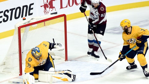 <p>               Colorado Avalanche left wing Gabriel Landeskog (92), of Sweden, watches a shot by teammate Nathan MacKinnon get past Nashville Predators goaltender Pekka Rinne (35), of Finland, for a goal during the first period of an NHL hockey game, Tuesday, Nov. 27, 2018, in Nashville, Tenn. (AP Photo/Mark Zaleski)             </p>