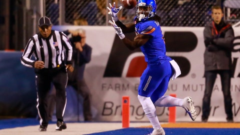 <p>               Boise State wide receiver A.J. Richardson (7) turns back for the ball on a reception against BYU during the first half of an NCAA college football game Saturday, Nov. 3, 2018, in Boise, Idaho. (AP Photo/Steve Conner)             </p>