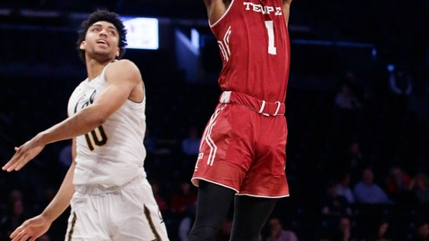 <p>               Temple's Quinton Rose (1) dunks the ball in front of California's Justice Sueing (10) during the second half of an NCAA college basketball game in the consolation round of the Legends Classic tournament Tuesday, Nov. 20, 2018, in New York. Temple won 76-59. (AP Photo/Frank Franklin II)             </p>