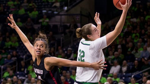 <p>               Notre Dame's Jessica Shepard (32) goes up for a shot next to Harvard's Jadyn Bush (24) during the first half of an NCAA college basketball game Friday, Nov. 9, 2018, in South Bend, Ind. (AP Photo/Robert Franklin)             </p>