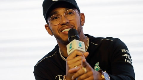 <p>               Mercedes driver Lewis Hamilton of Britain speaks during a news conference in Sao Paulo, Brazil, Wednesday, Nov. 7, 2018. 33-year-old Hamilton, who won his fifth title at the Mexican Grand Prix two weeks ago, will compete Sunday in the Brazilian Formula One Grand Prix at Sao Paulo's Interlagos circuit. (AP Photo/Andre Penner)             </p>