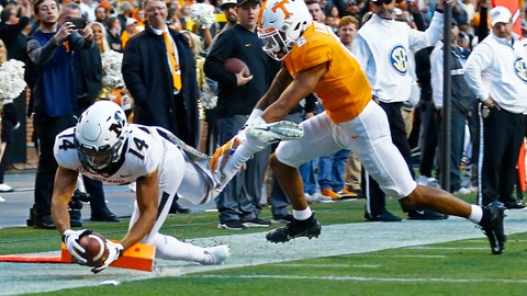 <p>               Missouri wide receiver Dominic Gicinto (14) dive into the end zone for a touchdown as he's defended by Tennessee defensive back Alontae Taylor (6) in the first half of an NCAA college football game Saturday, Nov. 17, 2018, in Knoxville, Tenn. (AP Photo/Wade Payne)             </p>