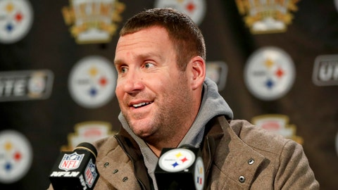 <p>               Pittsburgh Steelers quarterback Ben Roethlisberger takes questions during a news conference after the team's NFL football game against the Carolina Panthers, Thursday, Nov. 8, 2018, in Pittsburgh. (AP Photo/Keith Srakocic)             </p>