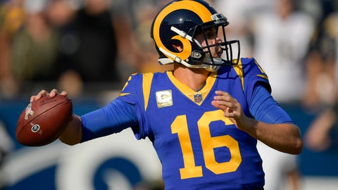 <p>               Los Angeles Rams quarterback Jared Goff passes against the Seattle Seahawks during the first half in an NFL football game Sunday, Nov. 11, 2018, in Los Angeles. (AP Photo/Mark J. Terrill)             </p>