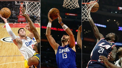 <p>               FILE - At left, in a Nov. 12, 2018, file photo, Los Angeles Clippers' Danilo Gallinari shoots as Golden State Warriors' Kevon Looney defends during the first half of an NBA basketball game in Los Angeles. At center, in an Oct. 19, 2018, file photo, Clippers' Marcin Gortat goes up against the Oklahoma City Thunder during the first half of an NBA basketball game in Los Angeles. At right, in a Nov. 10, 2018, file photo, Clippers' Patrick Beverley puts up a shot as Milwaukee Bucks' Khris Middleton looks on during the first half of an NBA basketball game, in Los Angeles. The best NBA team in Los Angeles right now isn't the one with LeBron James. It's the no-name Clippers. While they don't have talent on par with some teams, the Clippers are transitioning to a new era with a mix of veterans like Danilo Gallinari, Tabias Harris, Marcin Gortat and Patrick Beverley. (AP Photo/Files)             </p>
