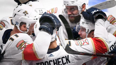 <p>               Jonathan Huberdeau,11, Mike Matheson,19, Vincent Trocheck, 21, Aaron Ekblad,5, and Frank Vatrano, 72, of the Florida Panthers celebrate a goal by Vatrano during the NHL Global Series Challenge ice hockey match against the Florida Panthers  Friday, Nov. 2, 2018 in Helsinki, Finland. (Martti Kainulainen via Lehtikuva)             </p>