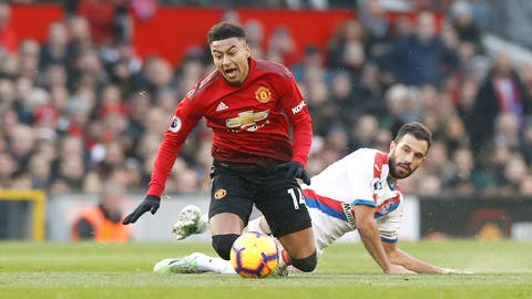 <p>               Manchester United's Jesse Lingard, left, is fouled by Crystal Palace's Luka Milivojevic during their English Premier League soccer match at Old Trafford, Manchester, England, Saturday, Nov. 24, 2018. (Martin Rickett/PA via AP)             </p>
