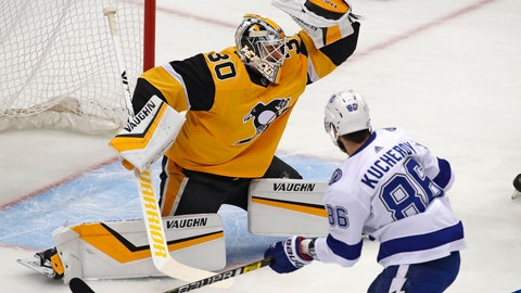 <p>               Pittsburgh Penguins goaltender Matt Murray (30) makes a glove save during the first period of the team's NHL hockey game against the Tampa Bay Lightning in Pittsburgh, Thursday, Nov. 15, 2018. (AP Photo/Gene J. Puskar)             </p>