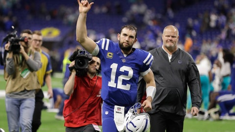 <p>               FILE - In this Sunday, Nov. 25, 2018, file photo, Indianapolis Colts quarterback Andrew Luck (12) waves as he leaves the field following an NFL football game against the Miami Dolphins in Indianapolis. Luck, who in strange circumstances never fully explained, missed the entire 2017 season with a shoulder injury. Like the Texan's J.J. Watt, is having a monster of a comeback year.  (AP Photo/Darron Cummings, File)             </p>