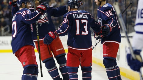 <p>               Columbus Blue Jackets players celebrate their goal against the Toronto Maple Leafs during the second period of an NHL hockey game Friday, Nov. 23, 2018, in Columbus, Ohio. (AP Photo/Jay LaPrete)             </p>