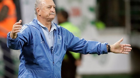 <p>               In this Nov. 21, 2018 photo, Luiz Felipe Scolari, coach of Brazil's Palmeiras, gestures during a Brasileirao championship soccer match against America Mineiro in Sao Paulo, Brazil. Once again the coach of Palmeiras, Scolari could win his first major title at home since the historic embarrassment against the Germans at the Mineirao Stadium. (AP Photo/Andre Penner)             </p>