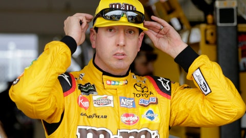 <p>               Kyle Busch adjusts his glasses during practice for the NASCAR Cup auto race at the Homestead-Miami Speedway, Friday, Nov. 16, 2018, in Homestead, Fla. (AP Photo/Terry Renna)             </p>