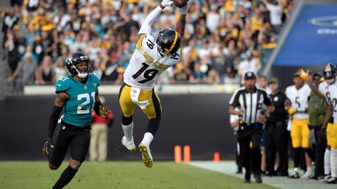<p>               FILE - In this Sunday, Nov. 18, 2018, file photo, Pittsburgh Steelers wide receiver JuJu Smith-Schuster (19) catches a pass in front of Jacksonville Jaguars cornerback A.J. Bouye (21) during the second half of an NFL football game in Jacksonville, Fla. The 22-year-old leads Pittsburgh in receptions and yards receiving heading into a showdown with the Los Angeles Chargers. (AP Photo/Phelan M. Ebenhack, File)             </p>