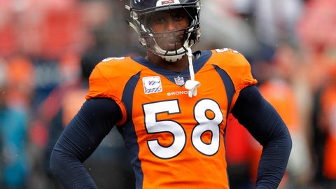 """<p>               FILE - In this Oct. 14, 2018, file photo, Denver Broncos linebacker Von Miller (58) warms up prior to an NFL football game against the Los Angeles Rams, in Denver. Try as he might, Von Miller just can't find anything bad to say about Philip Rivers anymore.  """"I've always enjoyed going against Philip,"""" Miller said Thursday, Nov. 15, 2018. (AP Photo/David Zalubowski, File)             </p>"""