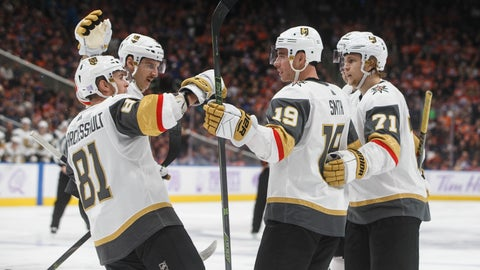<p>               Vegas Golden Knights celebrate a goal against the Edmonton Oilers during the third period of an NHL hockey game Sunday, Nov. 18, 2018, in Edmonton, Alberta. (Jason Franson/The Canadian Press via AP)             </p>