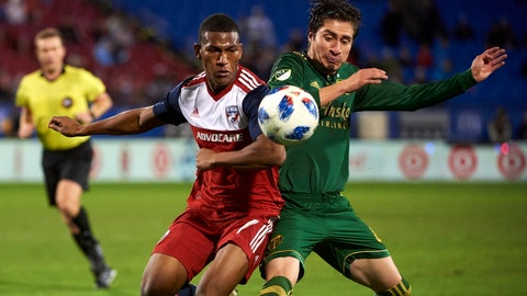 <p>               FILE - In this Oct. 31, 2018, file photo, FC Dallas midfielder Carlos Gruezo, left, battles for the ball against Portland Timbers defender Jorge Villafana during the second half of an MLS soccer playoff match in Frisco, Texas. Villafana's career path is something of a league legend. Not only did his Sueno MLS turn earn him a spot on a team, but since then he's also played in Liga MX and has become a regular on the U.S. national team.  (AP Photo/Cooper Neill, File)             </p>