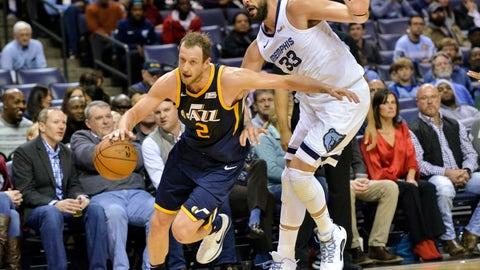 <p>               Utah Jazz forward Joe Ingles (2) controls the ball against Memphis Grizzlies center Marc Gasol (33) in the first half of an NBA basketball game Monday, Nov. 12, 2018, in Memphis, Tenn. (AP Photo/Brandon Dill)             </p>