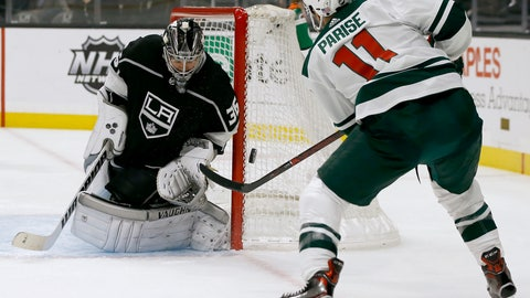 <p>               Los Angeles Kings goaltender Jack Campbell, left, deflects a shot by Minnesota Wild left wing Zach Parise during the first period of an NHL hockey game in Los Angeles, Thursday, Nov. 8, 2018. (AP Photo/Alex Gallardo)             </p>