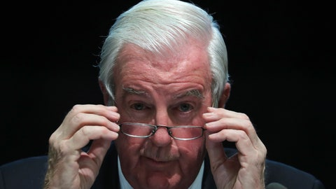 <p>               FILE - In this Thursday, Nov. 16, 2017 file photo, World Anti-Doping Agency (WADA) President Craig Reedie adjusts his glasses during a press conference in Seoul. World Anti-Doping Agency President Craig Reedie said on Thursday, Nov. 1, 2018 his wife threatened to divorce him if he didn't resign from the organization amid the furor over the Russia investigation. Critics say because Reedie is a member of the International Olympic Committee his objectivity has been compromised. (AP Photo/Lee Jin-man, file)             </p>