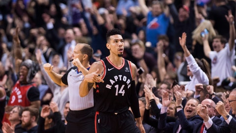 <p>               Toronto Raptors guard Danny Green gestures after hitting a 3-point basket against the Golden State Warriors during overtime in an NBA basketball game Thursday, Nov. 29, 2018, in Toronto. (Nathan Denette/The Canadian Press via AP)             </p>